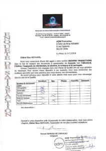 avis client adm promotion traduction documents